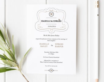 Elsie // Rustic Wedding Invitation // Black White and Beige // DIY Printable File // Digital PDF File