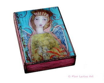 Angel of Tenderness - ACEO Giclee print mounted on Wood (2.5 x 3.5 inches) Folk Art  by FLOR LARIOS