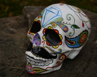 One of a kind Hand Painted Custom Dia de Los Muertos Day of the Dead Diamond Moustache Mexican Folk Art Sugar Skull Sculpture MADE TO ORDER