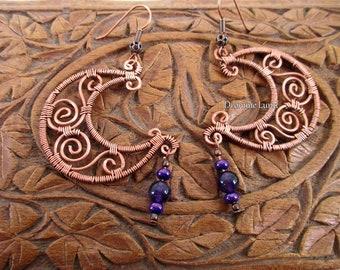 Celtic Moon Earrings ~ Wirework Crescent Earrings With Amethyst