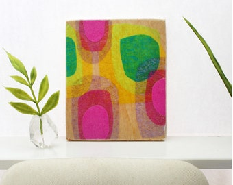 Original Miniature Artwork for the Modern Home - Floating Pinks and Greens