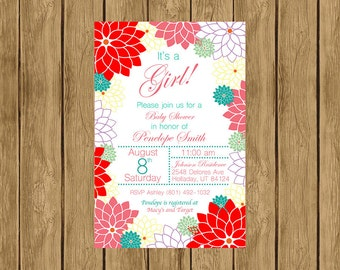 Printable Floral Baby Shower Invitation, It's a Girl Baby Shower Invitation, Floral Theme Baby Shower, Garden Theme, Digital Invitation 004