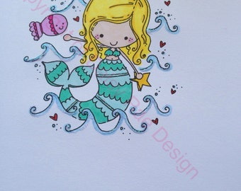Mermaid birthday card personalised handcoloured original design by DaisyRaeDesign