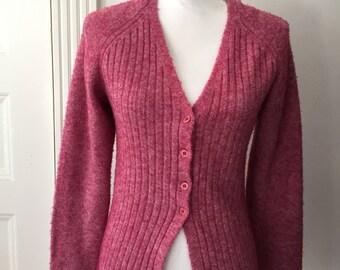 Vintage Diesel Sweater, 90s Diesel Cardigan Sz Large, Raspberry Pink Sweater, Pink Cardigan, Crown Sweater, V Neck Sweater, Fuzzy Sweater
