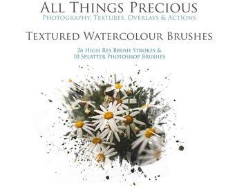 36 Fine Art Digital WATERCOLOR Photoshop BRUSHES