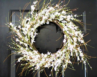 Forysthia  White wreath,  Spring wreath ,  berry wreath ,Forysthia wreath, white berry wreath ,summer wreath