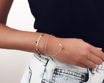 Hand chain, Gold bracelet, Delicate bracelet, Wrist jewelry, Dainty bracelet, Chain bracelet
