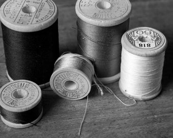 Thread black and white Sewing Room Decor Seamstress  Vintage Antique  Rustic Shabby Chic Home Decor Wall Art Fine Art Photography