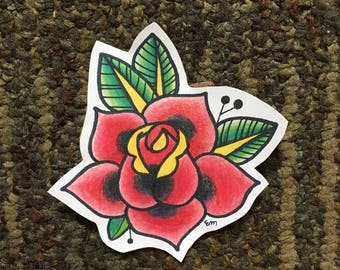 American Traditional Rose Sticker