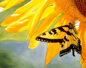 Yellow Butterfly Floral Watercolor Painting Print by Cathy Hillegas, 12x18, watercolor print, Watercolor Sunflower, yellow black green blue