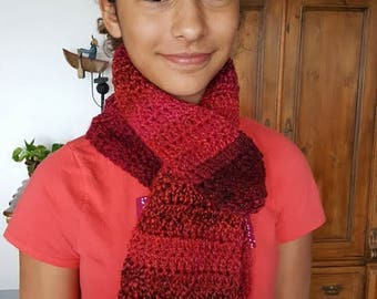 Varigated Pink and Red Hand Crocheted Scarf