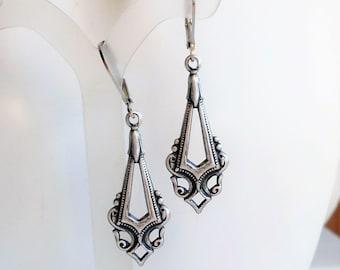 Art Deco Earrings, Antique Silver Art Nouveau Drop Earrings, Dark Silver Dangle Earrings, Art Deco Inspired Jewelry, Antique Silver Jewelry