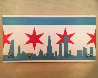 Chicago Skyline Flag Key Holder