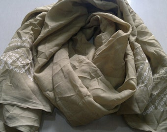 Small Scarf Indian Sari Scarf Neck Scarf Beige Scarf Crinkle Scarf SSF0