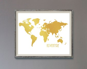 Gold world map etsy gold world mapworld map gold poster gold world map print world map gumiabroncs Image collections