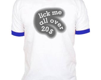 LICK Me All OVER - Vintage Retro RINGER Style T-shirt tee