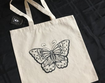 Hand Screened Canvas Butterfly Tote Bag