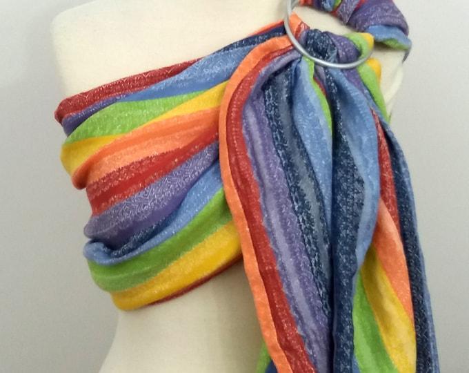 Ellevill wrap conversion ring sling- Gaia Linen Rainbow - cotton-linen