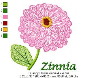 SFancy Flower Zinnia 4 x 4