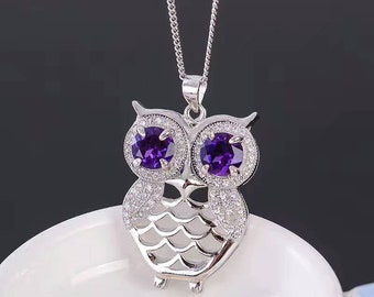 Genuine 925 Sterling Silver Amethyst Owl Pendant and Necklace, Charity Donation