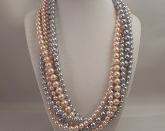 Very Elegant Wedding Bridal Multi Strand Long Necklace with Blush Peachy Pink and Pewter(Light Gray) Glass Pearls