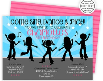 Dance invitation etsy dance invitation dance party dance birthday dance invitations dance party invites dance invites dance birthday party 481 stopboris Images