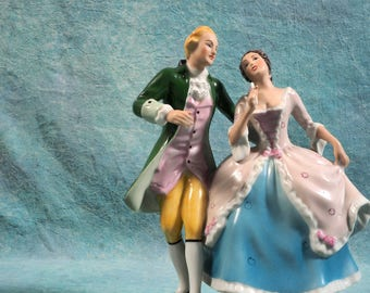 Vintage ROYAL DUX Bohemia Czech Dancing Couple Green SIGNED Elly Strobach