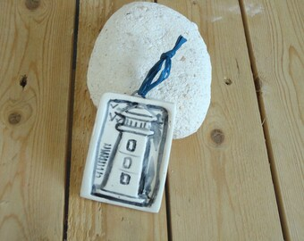 ceramic plate white with a light relief - marine wall decor decoration