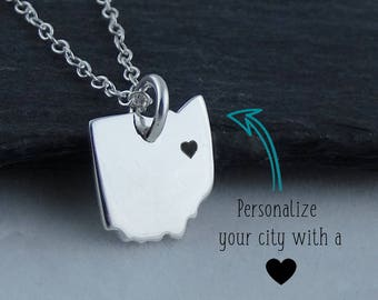 Personalized Ohio State Charm Necklace with Engraved Heart Near Your City - 925 Sterling Silver