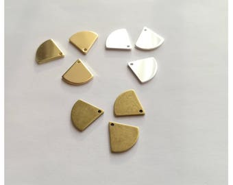 6 triangles base rounded brass (bronze, gold or silver) - 13mm