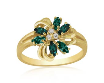 Alexandrite Diamond Ring -Natural Alexandrite- in 14K Yellow  Gold .Free Shipping in The USA
