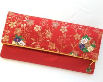 Fold Over Clutch made from vintage Obi - Sakura