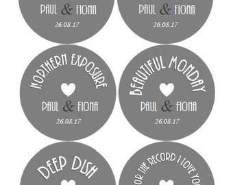 Custom Vinyl Record Label Wedding Invitation Table Theme 50s 60s 70s 80s Decoration Retro Disco Vintage Rock Birthday Save the Date Sticker