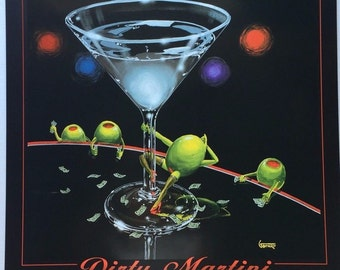 Wall Art Michael Godard Dirty Martini PRINT POSTER 24 X 26