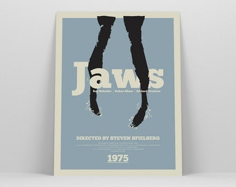 Jaws Poster ~ Shark, Minimalist Poster, Gifts for Him, Fathers Day Gift, Art Print, Wall Art