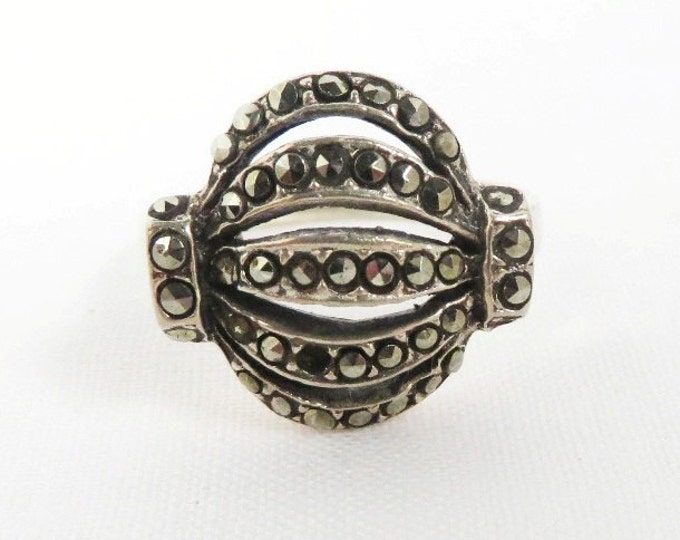 Vintage Marcasite Dome Ring - Sterling Silver Marcasite Ring, Size 8