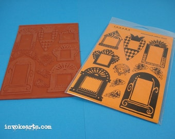 Funky Frames Smaller / Invoke Arts Collage Rubber Stamps / Unmounted Stamp Set