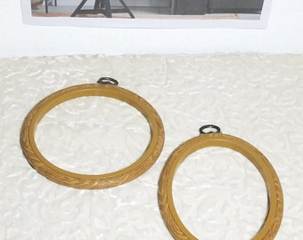 2 Small Frame Loops, Faux Wood Flexi Hoops, Embroidery Frame, Round and Oval Hoops