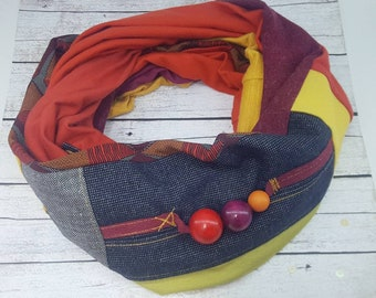 Orange yellow red Infinity scarf Soft circle scarves Loop scarf Woman accessory Fashion accessory Gift ideas Gift for her