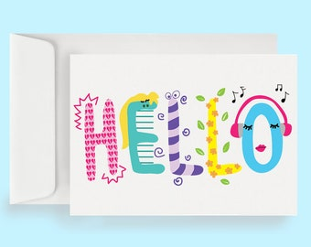 Hello Note Card (10 Cards + Envelopes)