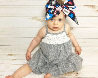 Stars and Squares Headwrap- Headwrap; Patriotic Head Wrap; Baby Head Wrap; Baby Headwrap; Head Wrap; 4th of July Headwrap; USA Headwrap