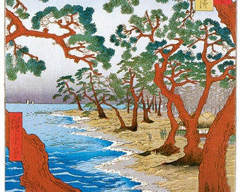 Hand-cut wooden jigsaw puzzle. MAIKO BEACH JAPAN. Hiroshige. Japanese woodblock print. Wood, collectible. Bella Puzzles.