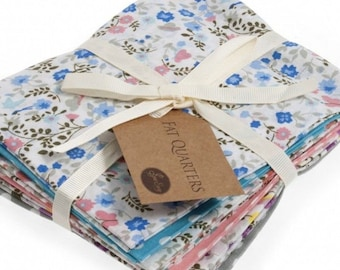 Flower, Butterfly and Polka Dot Fat Quarter Bundle, 6 Blue and Pink Cotton Fat Quarters, Flower and Polka Dot Cotton Fabrics, 54cm x 45cm