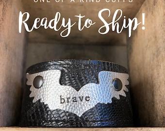 Ready to Ship Cuff - brave - Love Squared Designs