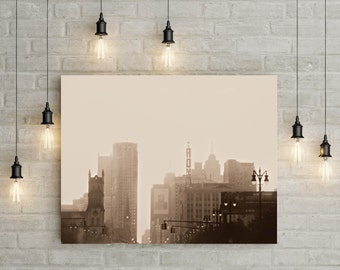 Fine Art Photography on Metallic Paper of Detroit In Fog, Soft Sepia Tone