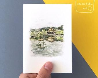 Japan Travel Golden Temple Illustration Card == Fine Art Greeting Card of Original Watercolour Painting