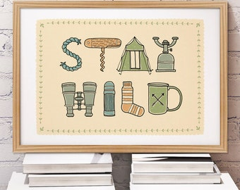 Stay Wild Camping Print | Camping Alphabet | Backpacking Print | Hiking print