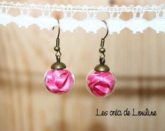Pink Ribbon globe earrings