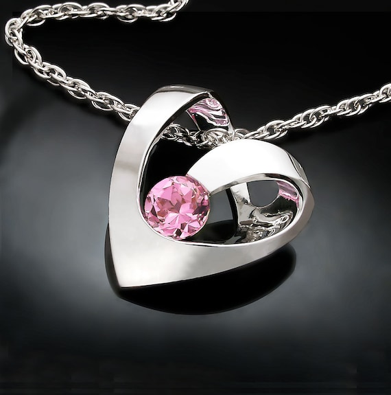heart necklace, pink topaz necklace, wedding necklace, Valentine gift, baby pink topaz, artisan necklace, for her - 3401
