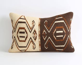 Brown and cream kilim pillows cover 12x18 inch